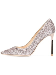 Eldof Womens High Heel Glitter Pumps | 4 inch Poined Toe Glitter Sexy Heels | Slip On Classic Wedding Pumps Glitter US7