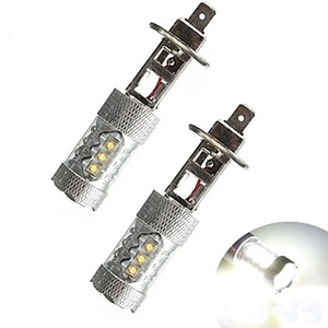 2Pcs H1 80W Cree LED Fog Tail Turn DRL Head Car Light Lamp Super Bright White