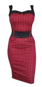 Switchblade Stiletto Women's Darling Dress (XX-Large, Red Gingham)