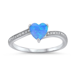 Accent Dazzling Heart Promise Ring Lab Created Blue Opal Round CZ 925 Sterling Silver