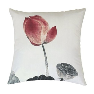 Rosy Clouds Polyester Lotus Leaf Home Decorative Indoor/Outdoor Throw Cushion Cover