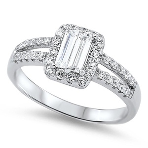 Sterling Silver 925 Cubic Zirconia CZ Emerald Cut Fashion Women's Engagement Ring Size 5-9 (5)