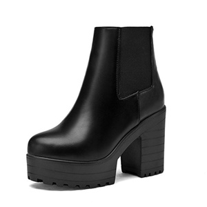 Lucksender Womens Round Toe Chunky High Heel Platform Ankle High Boots 5B(M)US Black