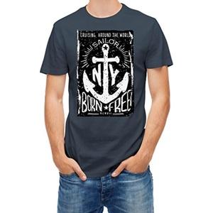 T-shirt Sailor Born Free Nautical anchor Denim S