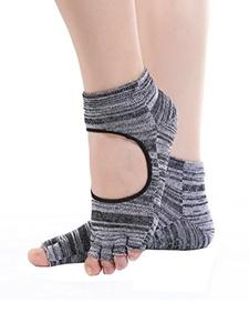 Zando Toeless Non Slip Skid Yoga Pilates Socks with Grips Cotton Grey