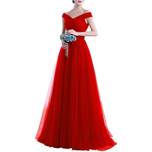 Bess Bridal Women's Off the Shoulder Lace Up Tulle Long Prom Evening Dresses US18W Red