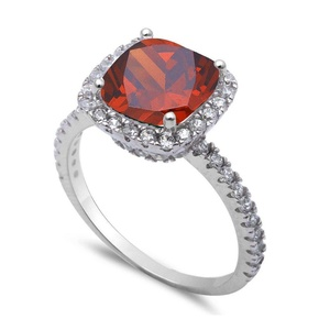 Accent Halo Wedding Engagement Ring Cushion Cut Simulated Ruby Round Cubic Zirconia 925 Sterling Silver