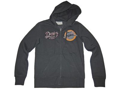 Denim & Supply Ralph Lauren Mens Full Zip Patch Hoodie Sweatshirt Black