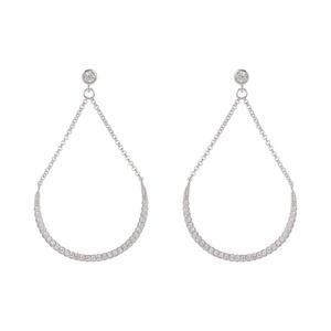 Sterling Silver & CZ Open Drop Earrings