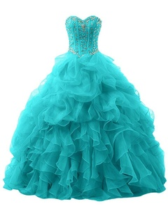 Winnie Bride Gorgeous Rhinestones Quinceanera Dresses Long Prom Party Ball Gowns-4-Turquoise