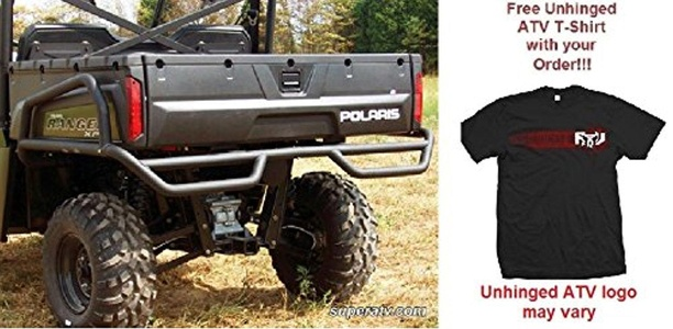 Bundled 2 items: Super ATV Polaris Ranger XP/Crew Rear Extreme Bumper With Side Bed Guards and FREE Unhinged ATV T-Shirt (Medium)