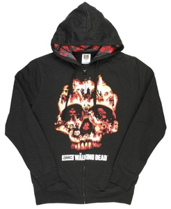 The Walking Dead Flaming Zombie Skull Graphic Zipper Hoodie - Large