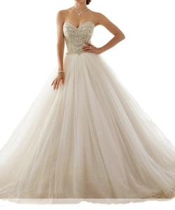 Beilite Women's Sweetheart Beaded A Line Wedding Dresses for Bride Ivory 8