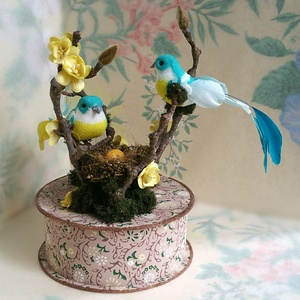 Handmade Vintage Brown Wallpaper Gift Box With Glass Glittered Birds, Moss, Twigs, Mulberry paper flowers and Nest