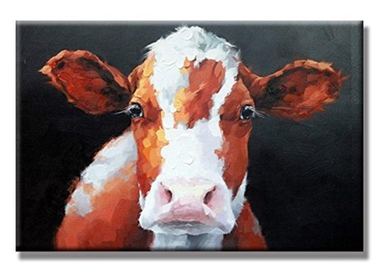 Charming Charm- Brown Cow Love Hand Painted Oil Painting with Stretched Frame Wall Art 24 x 36 Inch