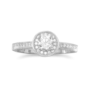 Rhodium Plated Sterling Silver Ring, Sizes 4-11, 5mm Cubic Zirconia CZ with Halo, 1mm CZ-Studded Band