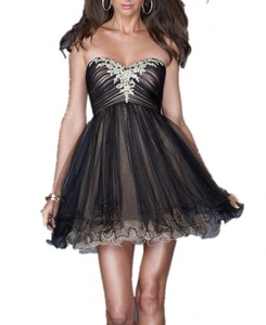 Winnie Bride Lovely Mini Tulle Sweet 16 Ball Dress A-line Homecoming Prom Dress-20W-Black