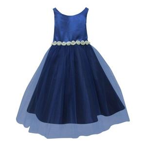 Petite Adele Little Girls Royal Blue Satin Rhinestone Tulle Christmas Dress 2T-6