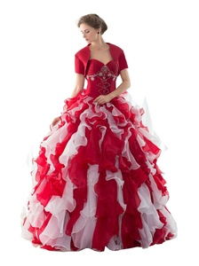 YinWen Women's Sweet 16 Quinceanera Dress Ruffle Prom Pagenat Gown With Shawl Size 8 US White+Red
