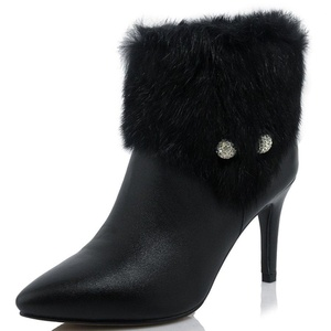 Nine Seven Genuine Leather Women's Pointy Toe Sexy Stiletto Heel Zip Up Handmade Ankle Boot with Fur (7.5, white)