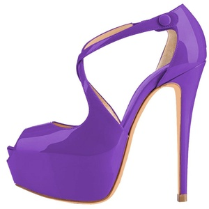 Maovii Women's Peep Toe Spike High Heels Cross Strap Platform Court Shoes 14 M US Purple Patent