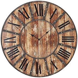 McArthur Distressed Wood and Metal 24 Round Wall Clock by Universal Lighting and Decor