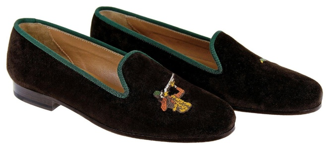 Stubbs & Wootton For J.Crew Classic Suede Slippers W/ Hunter $400 New Size 7.5