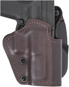 Front Line Three Layer Paddle Gun Holster Brown Synthetic Leather, Kydex, Suede Lining