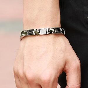 Men's Anti-fatigue Black Gallstone Titanium Steel Bracelet