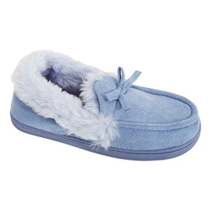 Womens/Ladies Faux Fur Lined Moccasin Slippers (5 US) (Blue)