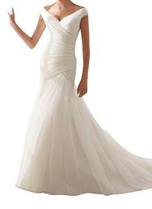 Meledy Women's Off Shoulder Double V-Neck Cross Ruffle Organza Long Wedding Dress Zipper Button Bridal Gowns White US10