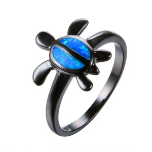 CHIC Fashion Animal Ring Blue Fire Opal Ring Black Gold Filled Jewelry Vintage Wedding Engaget Rings 8.0