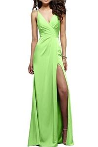 MILANO BRIDE Alluring Evening Prom Dress Split V-neck Backless Charmeuse 2016-22W-Light Lime