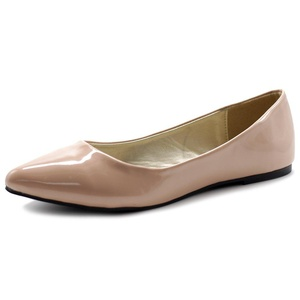 Ollio Women's Shoe Ballet Basic Pointed Toe Comfort Enamel Flat (7 B(M) US, Skin Pink)