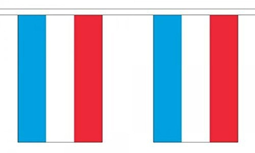 Luxembourg Bunting 9M Metre Length With 30 Flags 9X6 100% Woven Polyester by Luxembourg