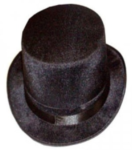 Black top hat - velour by Partyrama