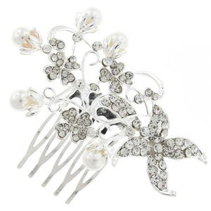 Silver and Austrian Crystal Flower Buds Floral Bridal Hair Comb Clip by Bridal Wedding Accessories.co.uk