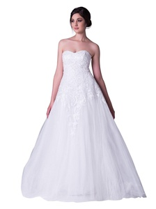 Crystal Dresses White Tulle Beading Chapel Train A Line Bridal Wedding Dress (2, Ivory)