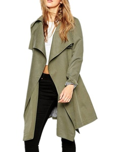 ZANZEA Women's Lapel Open Front Long Sleeve Belted Trench Coat Jacket Cardigan Army Green US 4-6/ASIAN S