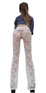 LinvMe Women's Sexy See Through Sheer Lace Floral Flare Pants M White