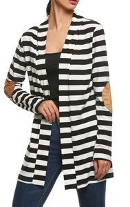 OURS Women's Elbow Patch Long Sleeve Shawl Collar Striped Open Front Cardigan Sweater (XXL, Black and White)