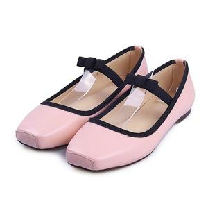VASHOP Women's Patent Leather Elastic Band Bow Pumps Slip On Ballet Flats Shoes,Pink/6