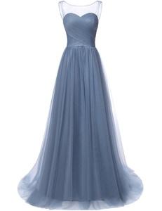 JAEDEN Tulle Prom Dresses Long Evening Dress Pleat A Line Gown Stormy US8