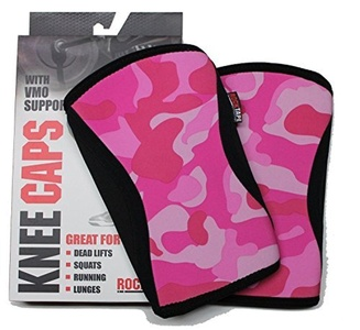 RockTAPE Crossfit Pink Knee Caps (Pair) Support 5mm Weightlifting Powerlifting (Pink Camo, Large) by Knee Support