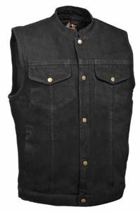 Milwaukee Leather Men's Denim Club Style Vest (Black, Large) by Milwaukee Leather