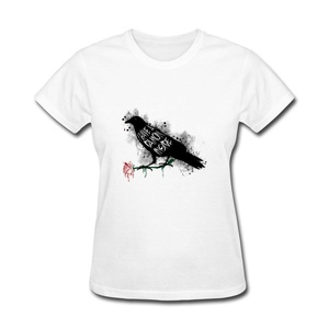 ZhiBo Women's Ink Black Bird Crow Raven I Have A Damon Inside Flower Custom T-shirts White Medium Women