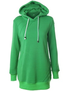 Season Show Womens Long Sleeve Zipper Neck Tunic Sweatshirt String Hoodie Color 05 L