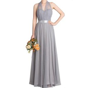 Honey Qiao Grey Bridesmaid Dress Tulle Long Prom Party Gowns Ruched For Evening