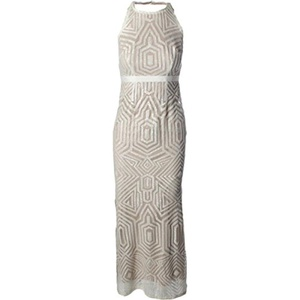 Laundry by Shelli Segal Womens Halter Sequined Evening Dress
