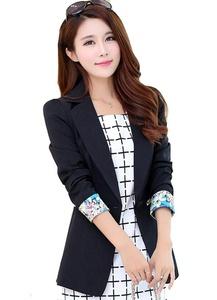 MWW Women's Work Office Blazers Junior¡¯s V-Neck Slim Suits One Button Black Jackets